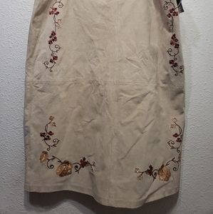 NWT Nygard Collection Leather embroidered Skirt 16